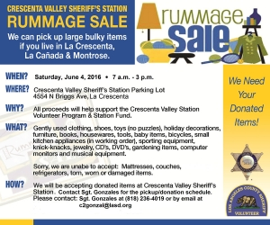 Crescenta Valley Sheriff's Station Rummage Sale @ Crescenta Valley Sheriff's Station parking lot | La Crescenta-Montrose | California | United States