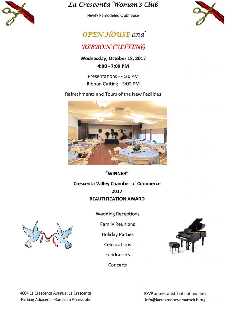 La Crescenta Woman's Club Open House and Ribbon Cutting @ La Crescenta Woman's Club | Glendale | California | United States