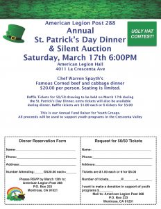 St. Patrick's Day Dinner and Silent Auction @ American Legion Hall | Glendale | California | United States