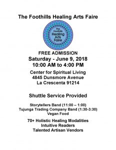 The Foothills Healing Arts Faire @ Center for Spiritual Living | Glendale | California | United States